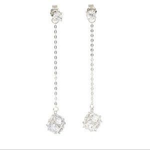 Silver Long section tassel crystal ball earrings